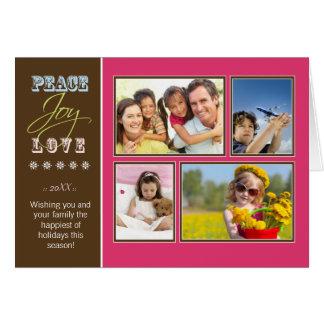 Peace-Joy-Love custom Family Holiday Card (fuchsia