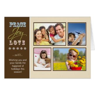 Peace-Joy-Love custom Family Holiday Card ivory