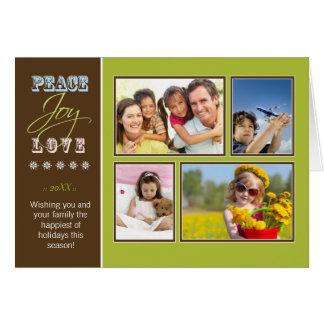 Peace-Joy-Love custom Family Holiday Card lime