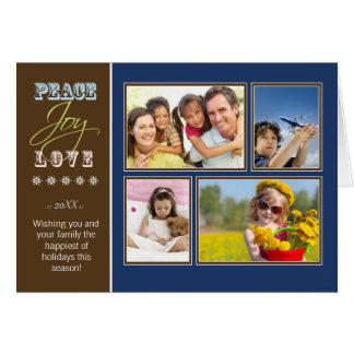 Peace-Joy-Love custom Family Holiday Card navy