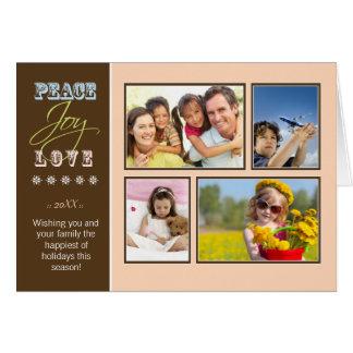 Peace-Joy-Love custom Family Holiday Card peach