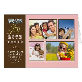 Peace-Joy-Love custom Family Holiday Card pink