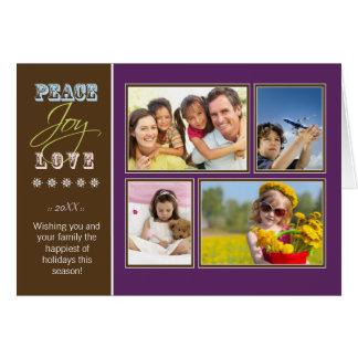 Peace-Joy-Love custom Family Holiday Card purple