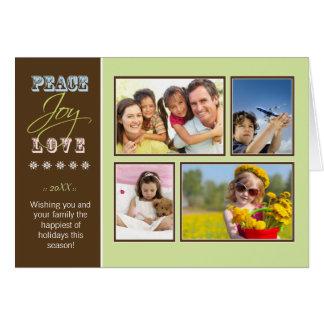 Peace-Joy-Love custom Family Holiday Card sage