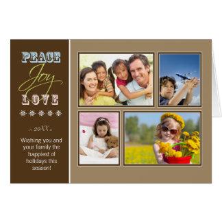 Peace-Joy-Love custom Family Holiday Card taupe