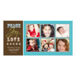 Peace-Joy-Love Family Holiday Photocard (aqua) Photo Greeting Card