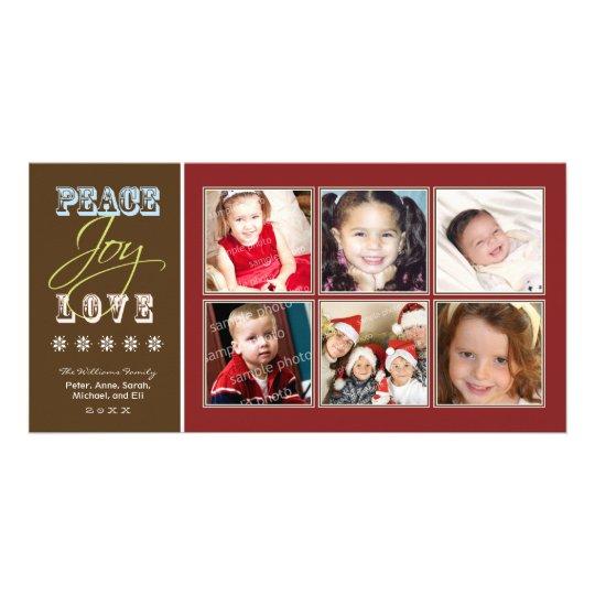 Peace-Joy-Love Family Holiday Photocard (crimson) Customised Photo Card