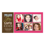 Peace-Joy-Love Family Holiday Photocard (fuchsia) Picture Card