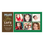 Peace-Joy-Love Family Holiday Photocard (green) Custom Photo Card
