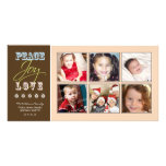 Peace-Joy-Love Family Holiday Photocard (peach) Picture Card