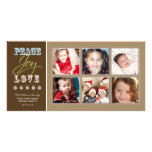 Peace-Joy-Love Family Holiday Photocard (taupe) Photo Card Template