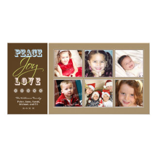 Peace-Joy-Love Family Holiday Photocard (taupe) Picture Card