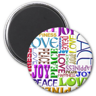 Peace Joy Love Happiness 6 Cm Round Magnet