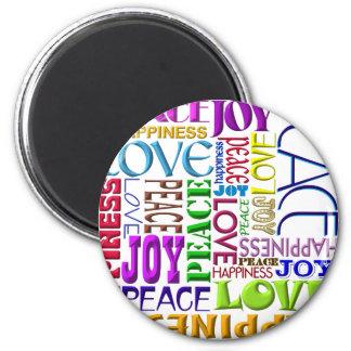 Peace Joy Love Happiness Fridge Magnet