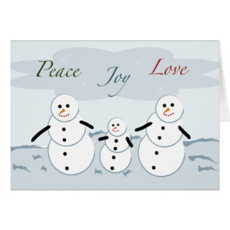 Peace Joy Love Holiday Snowmen Note Card