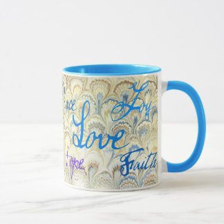 PEACE, JOY, LOVE, HOPE AND FAITH WALLPAPER PRINT MUG