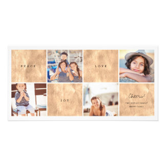 Peace Joy Love New Year Photo Collage Holiday Card Personalized Photo Card