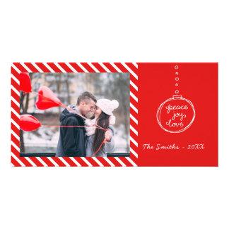 Peace Joy Love Ornament Holiday Photo Card