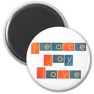 PEACE JOY LOVE Sandpaper Letters 6 Cm Round Magnet
