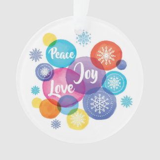 Peace Joy Love Watercolor Christmas Ornaments