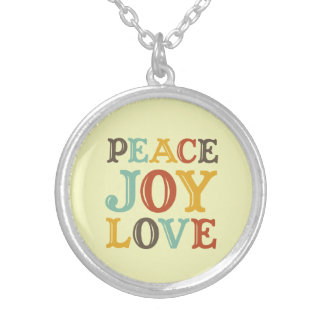 PEACE JOY LOVE woodcut style letter inspirational Necklace