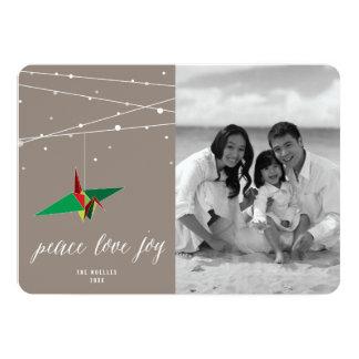 Peace & Joy Origami Paper Crane Holiday Photo Card 13 Cm X 18 Cm Invitation Card
