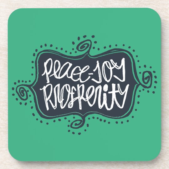 Peace, Joy, Prosperity hand drawn lettering Coaster