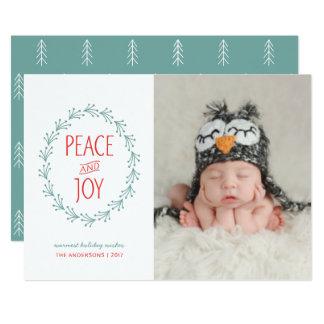 Peace & Joy Watercolor Christmas Boho Berry Wreath Card