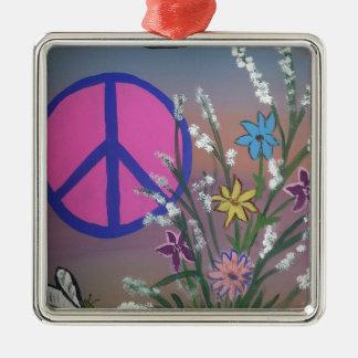 Peace.jpg Silver-Colored Square Decoration