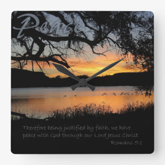 Peace Lake Sunset Romans 5:1 Wall Clock