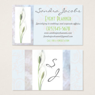 Peace Lily Event Planner Wedding Business Card