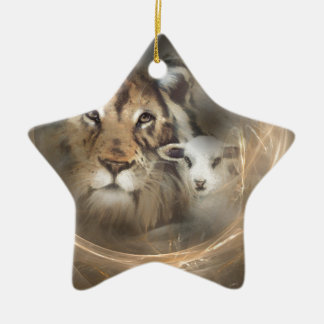 "Peace ""lion lamb"" religious christion gifts Jesus Christmas Ornament"