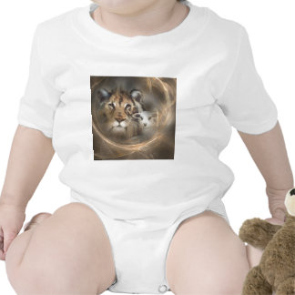 """Peace """"lion lamb"""" religious christion gifts Jesus Baby Bodysuits"""