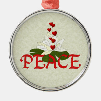 Peace Lotus Silver-Colored Round Decoration