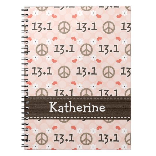 Peace Love 13.1 Half Marathon Spiral Notebook Jour