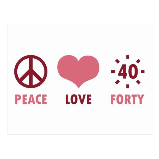 Peace Love 40th Birthday Gifts Postcard