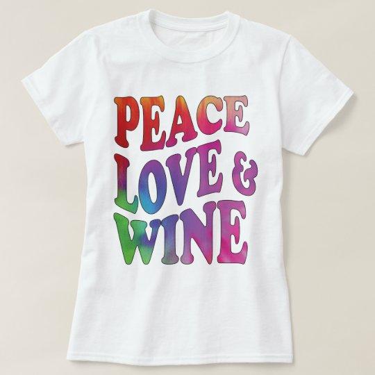 Peace Love 7 Wine Tie-Dyed Retro Design T-Shirt