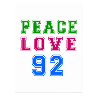 Peace Love 92 Birthday Designs Postcard