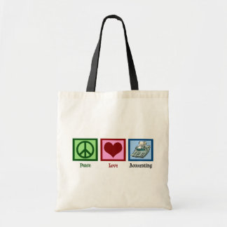 Peace Love Accounting Budget Tote Bag