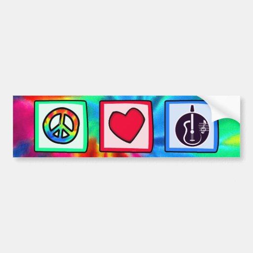 Peace, Love,  Acoustic Guitars Bumper Stickers