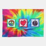 Peace, Love,  Acoustic Guitars Kitchen Towel