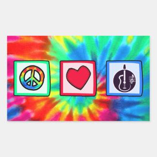 Peace, Love,  Acoustic Guitars Rectangle Sticker