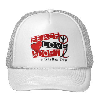 PEACE LOVE ADOPT A Shelter Dog Hats