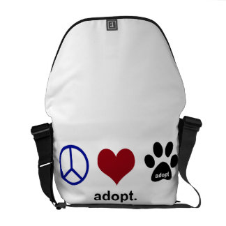 Peace, Love, Adopt Courier Bag
