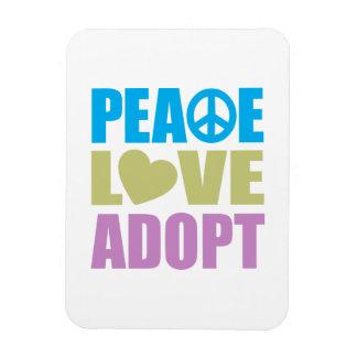 Peace Love Adopt Rectangular Photo Magnet