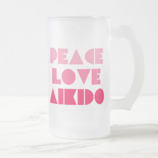 PEACE LOVE AIKIDO FROSTED GLASS MUG