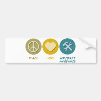 Peace Love Aircraft Maintenance Car Bumper Sticker
