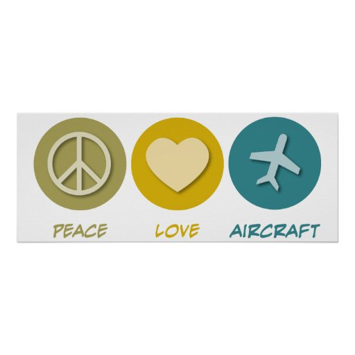 Peace Love Aircraft Print