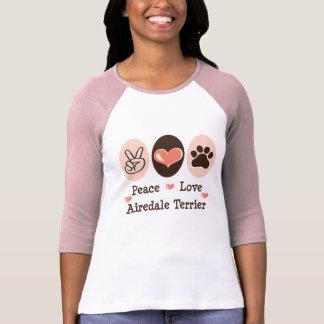 Peace Love Airedale Terrier Raglan Tee Shirt