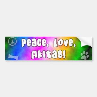 Peace Love Akitas Bumper Sticker